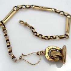 Lant aur antik 14k ptr ceas de aur transport zero - Lantisor aur, Culoare Aur: Galben