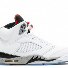 Jordan Retro 5 White/University Red/Black/Matte Silver - Adidasi barbati Jordan, Marime: 44, Culoare: Alb