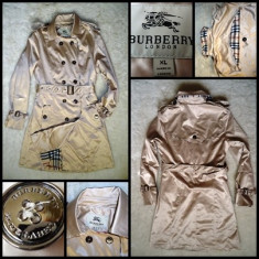 PARDESIU TRENCH DAMA BURBERRY APRIL SHOWERS IMPERMEABIL BEJ AURIU SIDEFAT, Marime: XL