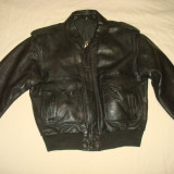 Geaca pilot/aviator/aviatie/barbati/neagra/piele naturala bovina/vintage/clasic