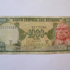 Ecuador 1000 Sucres 1988 - bancnota america