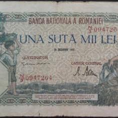 Bancnota 100000 lei - ROMANIA, anul 1946 / Decembrie *cod 21 - Bancnota romaneasca