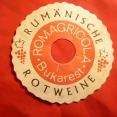 Eticheta veche -Reclama in limba germana la Vin Rosu Romania