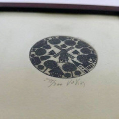 Tablou miniatura litografie serie limitata, semnata si numerotata de autor