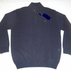 Pulover 3XL bleumarin barbati nasturi 100% bumbac gros iarna helanca - Pulover XXXL