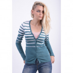 Cardigan Bumbac Sublevel Helga Mien Dark Petrol White - Pulover dama sublevel, Marime: XS, S, M, L, XL, Culoare: Bleumarin
