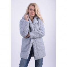Palton Gros Cu Guler Noisy May Teddy High-Rise - Palton dama, Marime: L, M, S, XS, Culoare: Gri