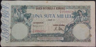 Bancnota 100000 lei - ROMANIA, anul 1946 / Octombrie *cod 35 foto