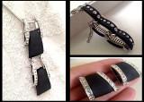 OFERTA-SET bijuterii(Bratara+colier+cercei) placat cu aur alb 18k-TIP Pandora