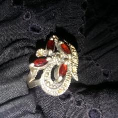 Inel argint Energie, inel model antic original cu pietre si filigram, inel dama argint