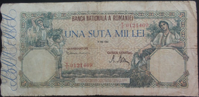 Bancnota 100000 lei - ROMANIA, anul 1946 / Mai  *cod 12 foto