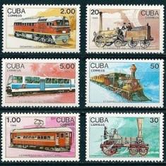 CUBA 1989 - TRENURI, LOCOMOTIVE - SERIE DE 6 TIMBRE NESTAMPILATA - MNH - COTA MICHEL : 36 E / trenuri37