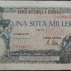 Bancnota 100000 lei - ROMANIA, anul 1946 / Mai *cod 11 - Bancnota romaneasca
