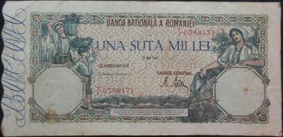 Bancnota 100000 lei - ROMANIA, anul 1946 / Mai  *cod 11 foto