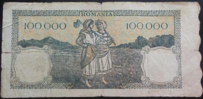 Bancnota 100000 lei - ROMANIA, anul 1946 / Mai  *cod 18 foto