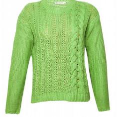 Pulover tricotat dama la baza gatului Bluhmod, Verde