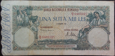 Bancnota 100000 lei - ROMANIA, anul 1946 / Decembrie  *cod 24 foto