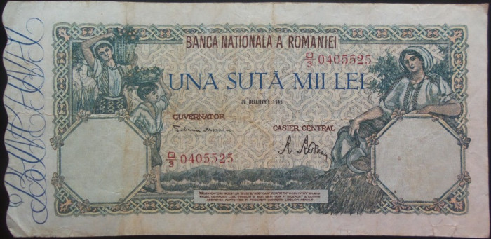 Bancnota 100000 lei - ROMANIA, anul 1946 / Decembrie  *cod 24
