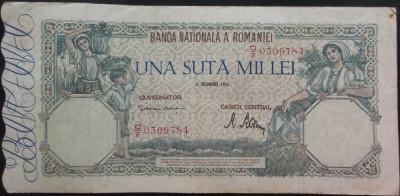 Bancnota 100000 lei - ROMANIA, anul 1946 / Octombrie  *cod 34 foto