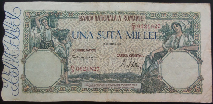 Bancnota 100000 lei - ROMANIA, anul 1946 / Octombrie  *cod 31