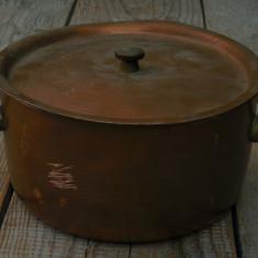 OALĂ / CRATIȚĂ / VAS ADÂNC CU CAPAC, CUPRU CU MÂNERE DE BRONZ, CAP. 1, 5 LITRI! - Metal/Fonta, Vase
