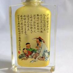 Sticluta orientala pictata pe interior cu caligrafie, decor, snuff bottle, 7.5cm