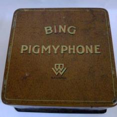 Cutie de tabla, veche, imagini din povesti, BING PIGMYPHONE Bavaria, 16x16x8.5cm