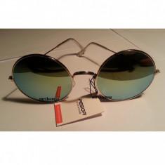 Ochelari de soare rotunzi John Lennon lentila verde oglinda style retro, Unisex, Metal, Protectie UV 100%