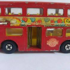 Masinuta Hot Wheels fier macheta autobus dublu matchbox Super Kings England, Lesney 1972