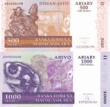 Bancnota Madagascar 500 si 1.000 Franci 2004 (2014) - P88b si 89b UNC ( set x2 )