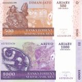 Bancnota Madagascar 500 si 1.000 Franci 2004 (2014) - P88b si 89b UNC ( set x2 ) - bancnota africa