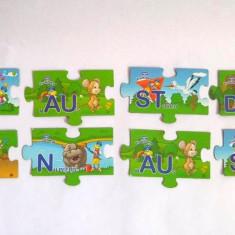 Lot 8 magneti in forma de piesa puzzle cu imagini desene animate si litere