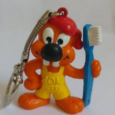 Figurina breloc de cauciuc, castor cu periuta de dinti AOK PUTZI, 5.5cm, Bully