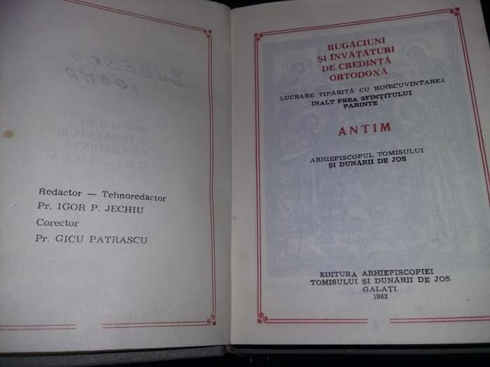 Carte veche 1983,RUGACIUNI si invataturi de credinta ortodoxa,Carte de rugaciuni