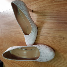 Pantofi Mireasa - Pantof dama, Culoare: Alb, Marime: 38, Cu toc