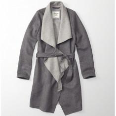 Palton ABERCROMBIE FITCH - Paltoane Dama, Femei - 100% AUTENTIC - Palton dama, Marime: L, Culoare: Gri, Lana