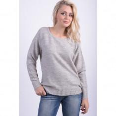 Pulover Dama Vila Viriva Rib Ls Top Light Grey Melange, Marime: L, Culoare: Gri