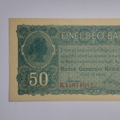 ROMANIA 50 BANI 1917 BGR OCUPATIA GERMANA PERFECT UNC - Bancnota romaneasca