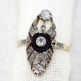Inel Art Deco aur 18K, platina, diamante si onyx, antic, vintage, cca 1920