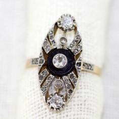 Inel Art Deco aur 18K, platina, diamante si onyx, antic, vintage, cca 1920 - Inel diamant, Culoare: Galben
