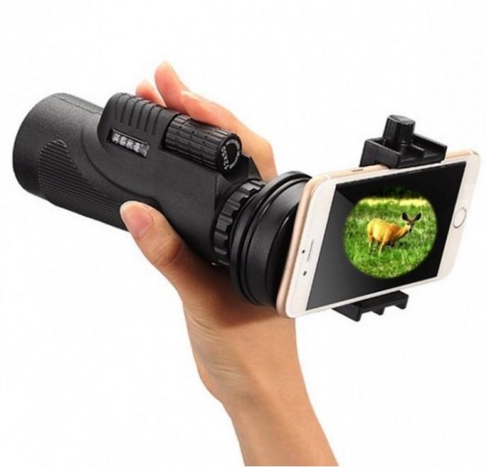 Telescop portabil cu suport pentru telefon cu focalizare zoom 12x foto mare