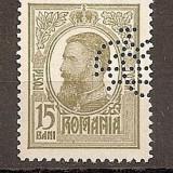 """SD Romania 1908 LP67- Carol I Tipografiate, 15 Bani oliv, PERFIN """"BCR"""" - Timbre Romania, Stampilat"""