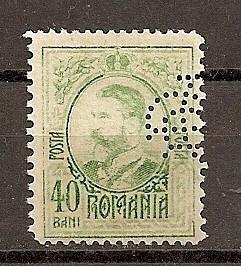 """SD Romania 1908 LP66- Carol I gravate, 40 Bani, PERFIN """"BCR"""" foto"""