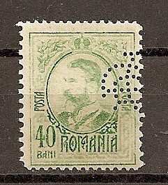 """SD Romania 1908 LP66- Carol I gravate, 40 Bani, PERFIN """"BCR"""" foto mare"""