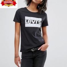 Tricou Levi's Perfect Logo Negru - Import U.K. - Marimi S, M, L - Detalii in anunt - Tricou dama Levi's, Imprimeu text, Maneca scurta, Casual, Bumbac