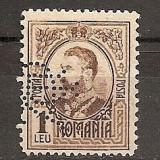 "SD Romania 1908 LP66- Carol I gravate, 1 Leu brun, PERFIN ""BCR"" - Timbre Romania, Stampilat"
