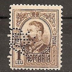 SD Romania 1908 LP66- Carol I gravate, 1 Leu brun, PERFIN