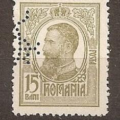 SD Romania 1908 LP67- Carol I Tipografiate, 15 Bani oliv, PERFIN