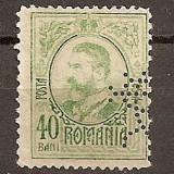 """SD Romania 1908 LP66- Carol I gravate, 40 Bani, PERFIN """"BCR"""" - Timbre Romania, Stampilat"""