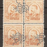 """SD Romania 1908 LP66- Carol I gravate, 50 Bani, bloc de 4 timbre, PERFIN """"BCR"""" - Timbre Romania, Stampilat"""